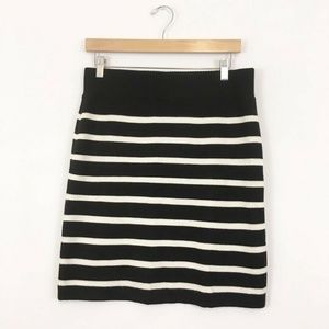 Ann Taylor LOFT Wool Tube Tight Stripe Skirt Women